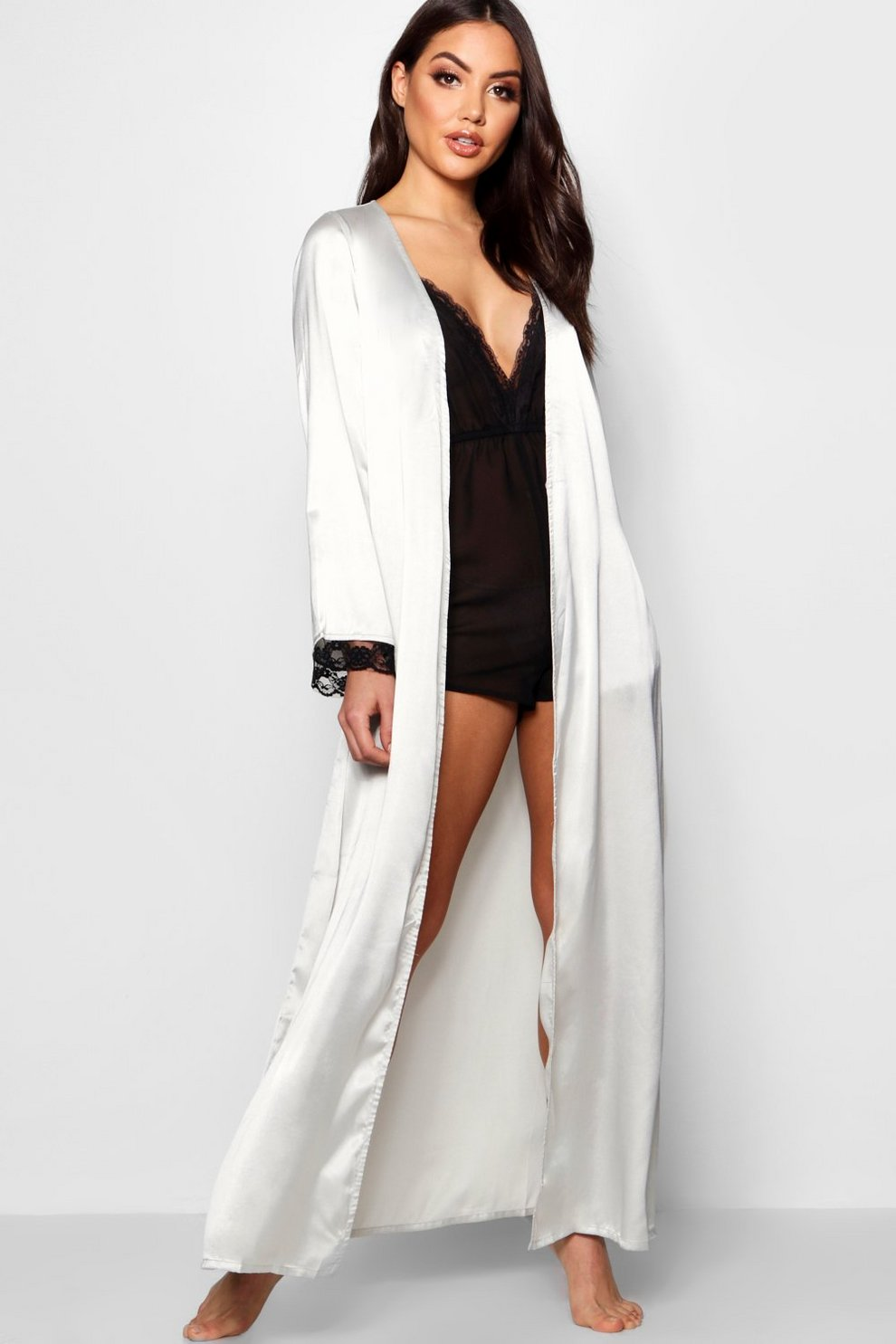 41270dd21 Womens Grey Floral Satin Lace Sleeve Maxi Kimono