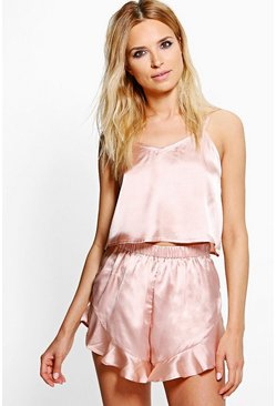 Womens Rose gold Satin Strap Detail Vest + Short Set