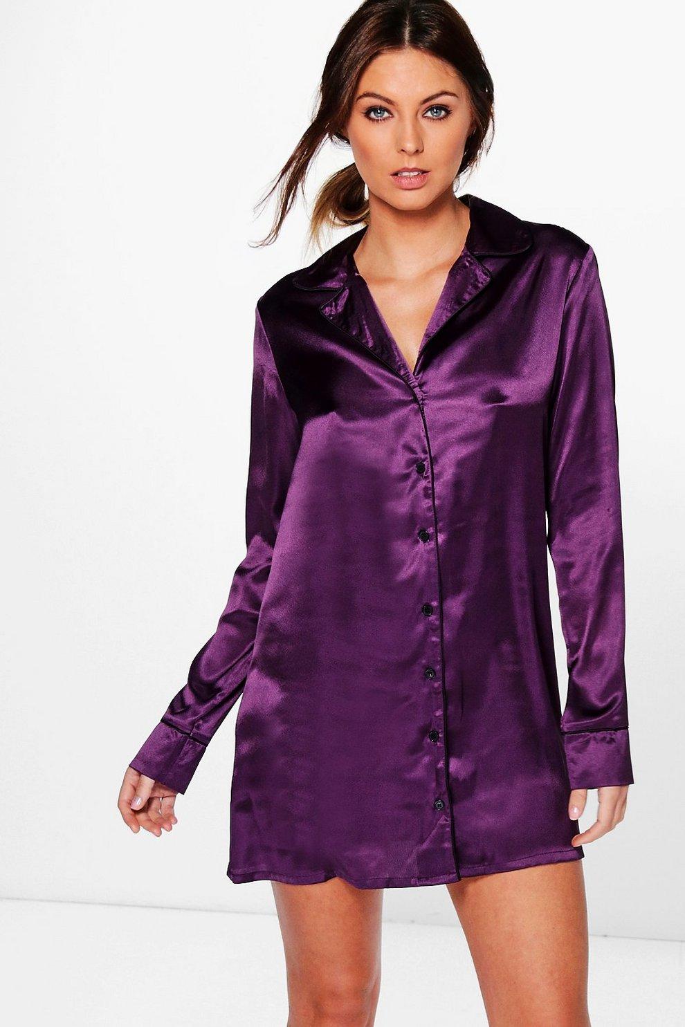 da5cc0b7287 Isabella Satin Night Shirt Dress