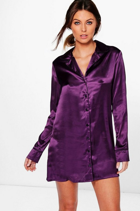Isabella Satin Night Shirt Dress