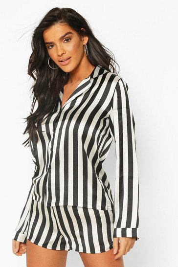 Womens Black Satin Stripe Print Long Sleeve And Short PJ Set