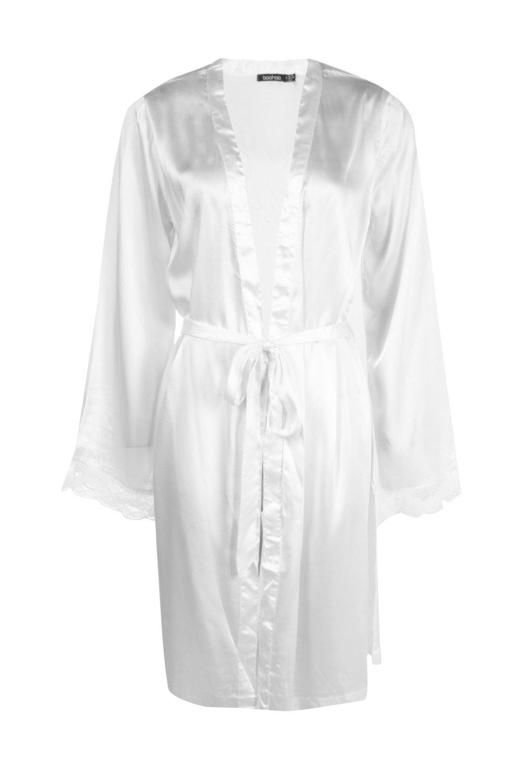 Sleeve Kimono cream Cream Robe Bridal Lace Satin zEvnxwFTIq
