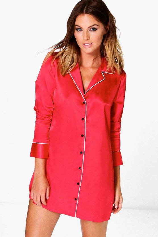 Satin Contrast Piping Night Shirt