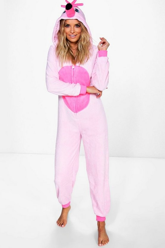 Neve Flamingo Hooded Fleece Onesie