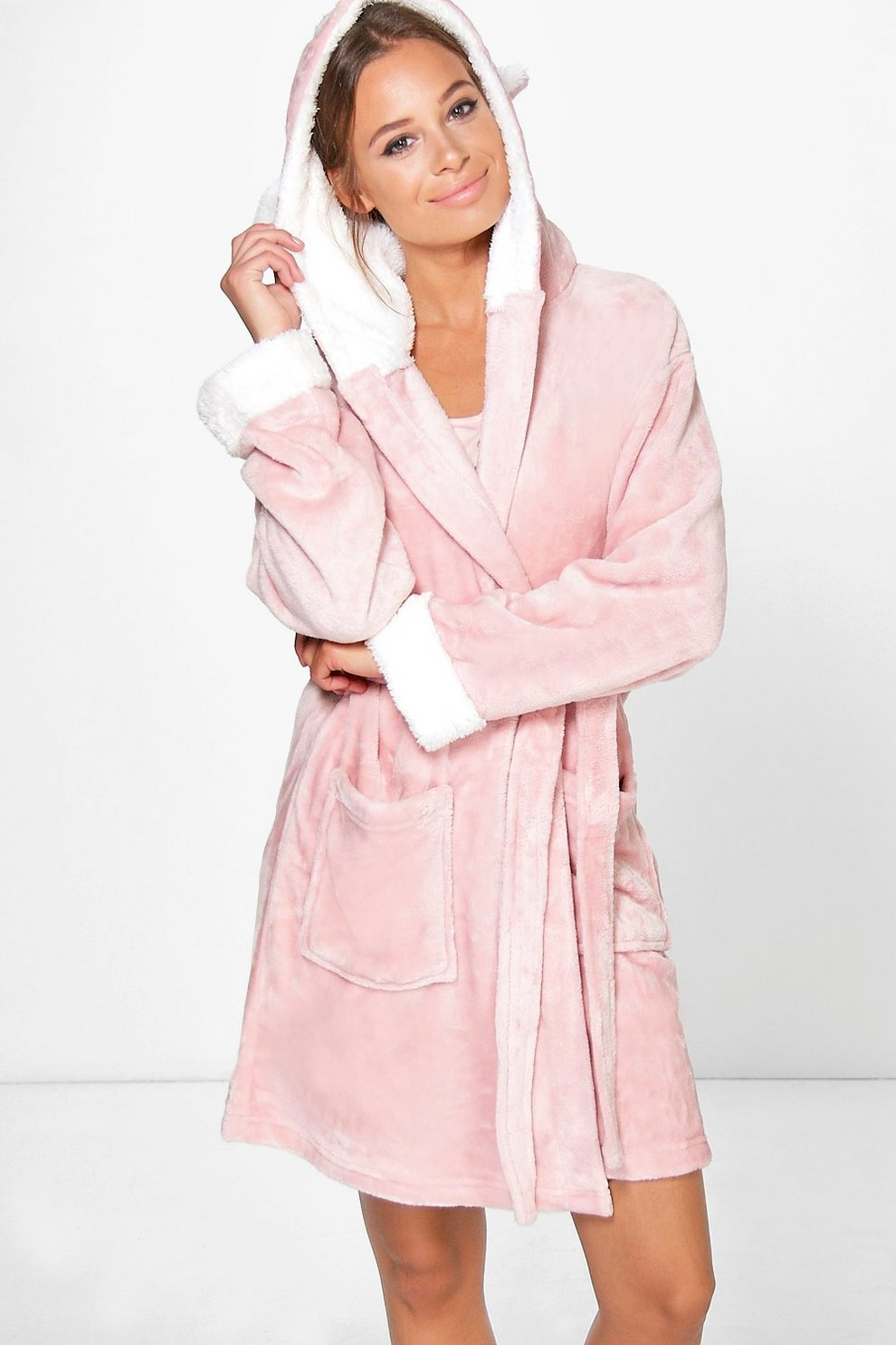 Isobel Animal Hooded Fleece Dressing Gown | Boohoo