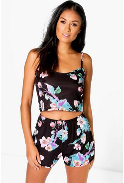 Womens Black Isabelle Slinky Floral Crop And Short Set