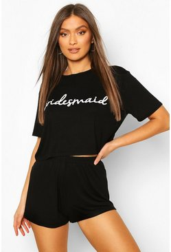"Black ""Bridesmaid"" pyjamasset med t-shirt och shorts"
