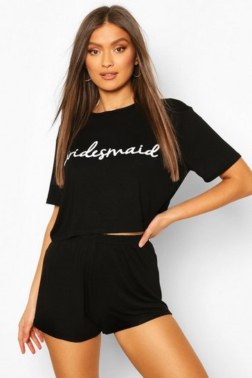 Womens Black Bridesmaid Bridal T-shirt And Shorts PJ Set