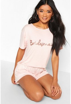 Rose gold Bridesmaid T-Shirt & Short Pj Set