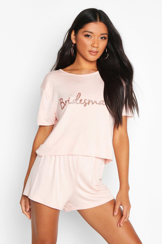 boohoo / Bridesmaid T-Shirt & Short Pj Set