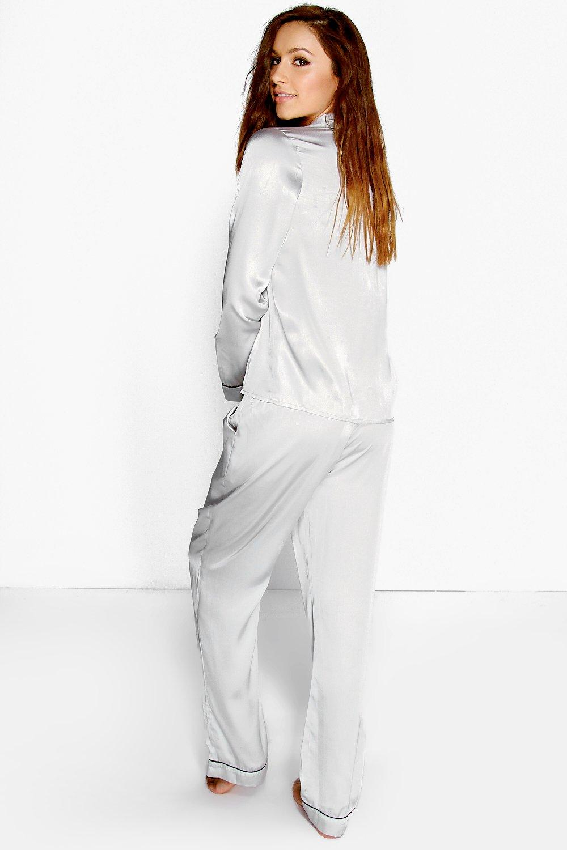 Through Contrast Satin Button grey Piping Pyjamas wtYApt