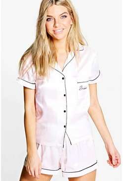 Womens Nude Bridesmaid Embroidered Satin Tshirt + Short Set