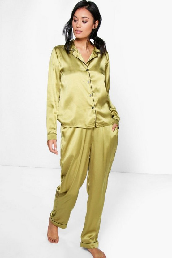 Esme Satin Button Through Shirt And Trouser Set, Khaki, MUJER