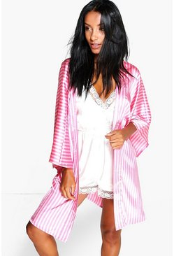 Womens Pink Candy Stripe Robe