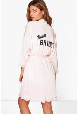 Blush Daisy Team Bride Slogan Bridal Robe