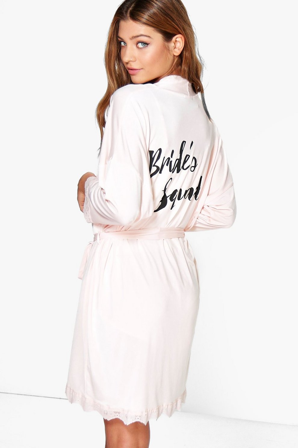 aecf12c474 Brides Squad Slogan Lace Detail Bridal Robe