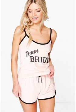 Womens Blush Eva Team Bride Tee And Shorts Bridal PJ Set