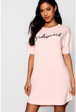 Nude 'The Bridesmaid' Slogan Bridal Sleep Tee