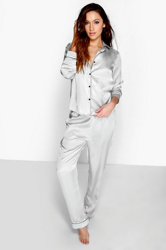 Grey Contrast Piping Button Down Satin Set