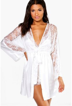 Womens Cream Bridal Lace Satin Night Robe