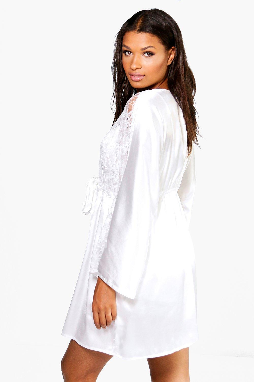 Satin Robe Night Bridal cream Lace 8w0RqR