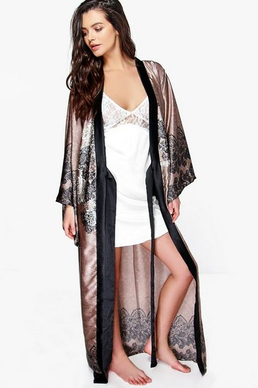 Womens Mink Paisley Satin Maxi Kimono Night Robe