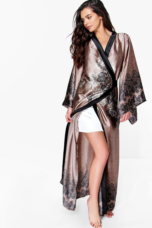 Satin Night Paisley Kimono mink Robe Maxi waxdYTxRq
