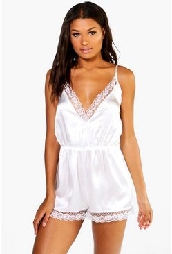 Womens Cream Bridal Satin Teddy