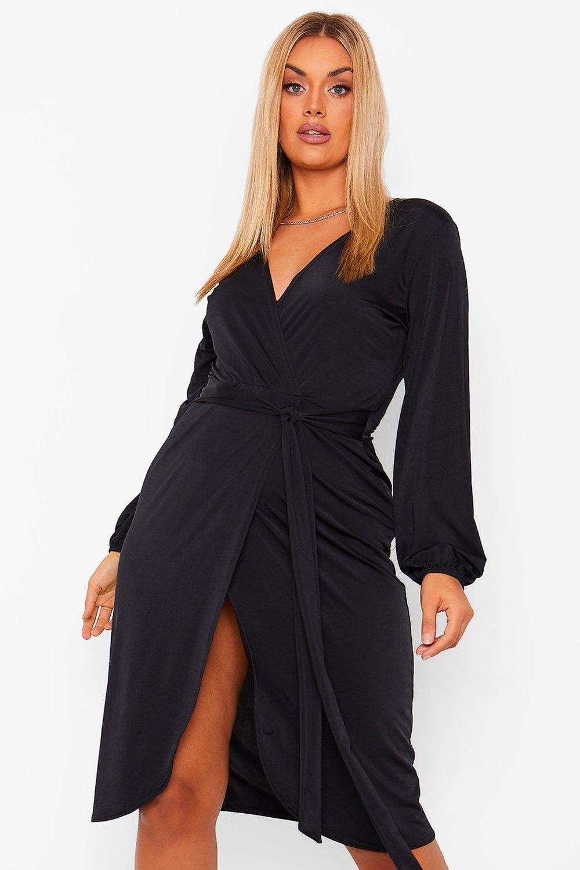 60s 70s Plus Size Dresses, Clothing, Costumes Womens Plus Disco Slinky Belted Wrap Midi Dress - Black - 16 $16.00 AT vintagedancer.com