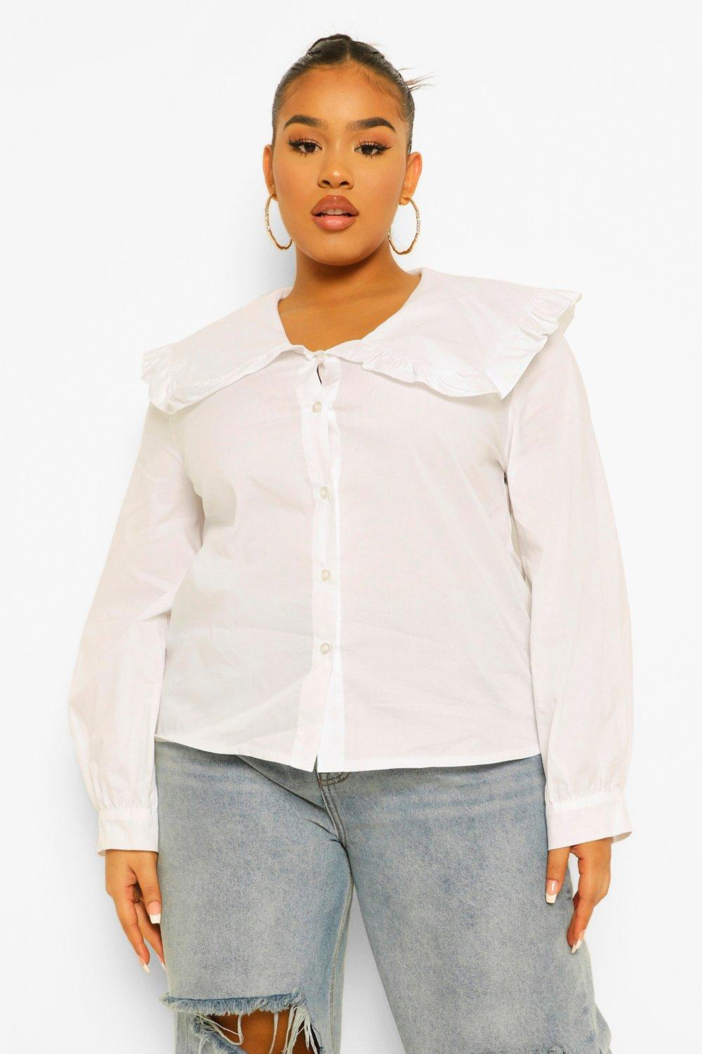 Edwardian Blouses |  Lace Blouses & Sweaters Womens Plus Peter Pan Collar Blouse - White - 16 $10.00 AT vintagedancer.com