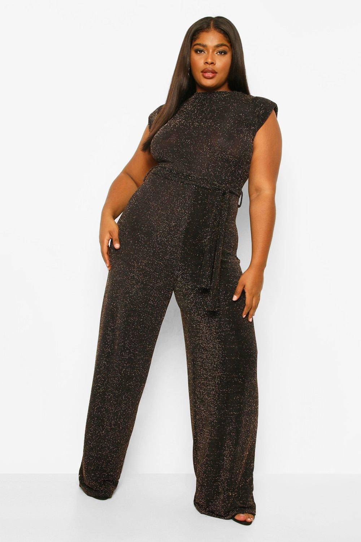70s Jumpsuit | Disco Jumpsuits, Sequin Rompers Womens Plus Glitter Shoulder Pad Jumpsuit - Metallics - 16 $19.20 AT vintagedancer.com