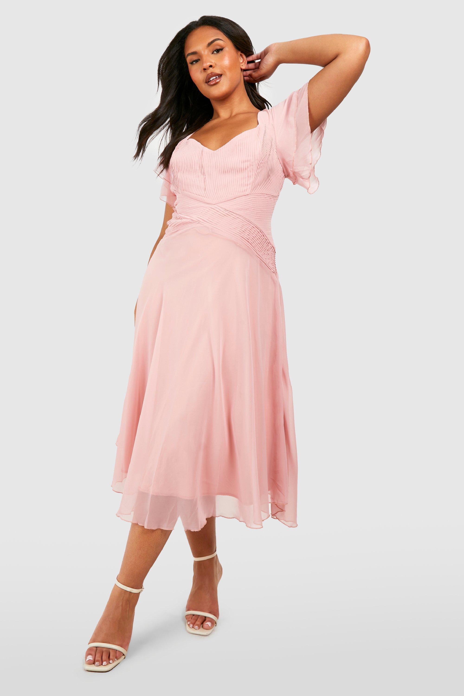 Vintage Style Dresses | Vintage Inspired Dresses Womens Plus Occasion Angel Sleeve Chiffon Midi Dress - Pink - 16 $70.00 AT vintagedancer.com