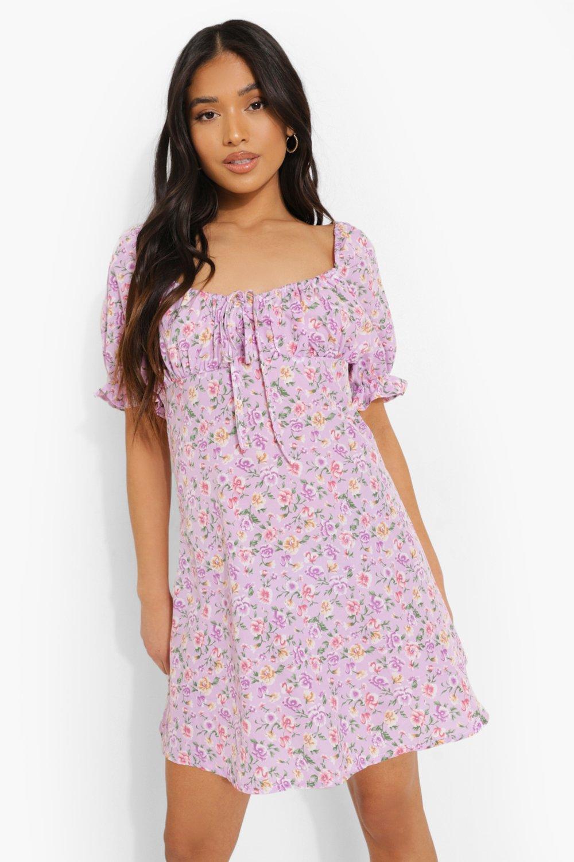 Cottagecore Clothing, Soft Aesthetic Womens Petite Ditsy Floral Puff Sleeve Mini Dress - Purple - 10 $16.00 AT vintagedancer.com