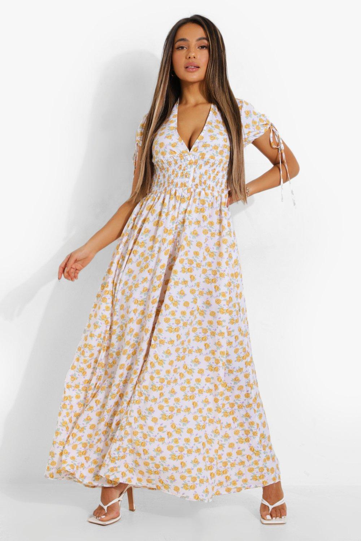 Cottagecore Clothing, Soft Aesthetic Womens Petite Ditsy Floral Plunge Tea Dress - White - 10 $20.00 AT vintagedancer.com