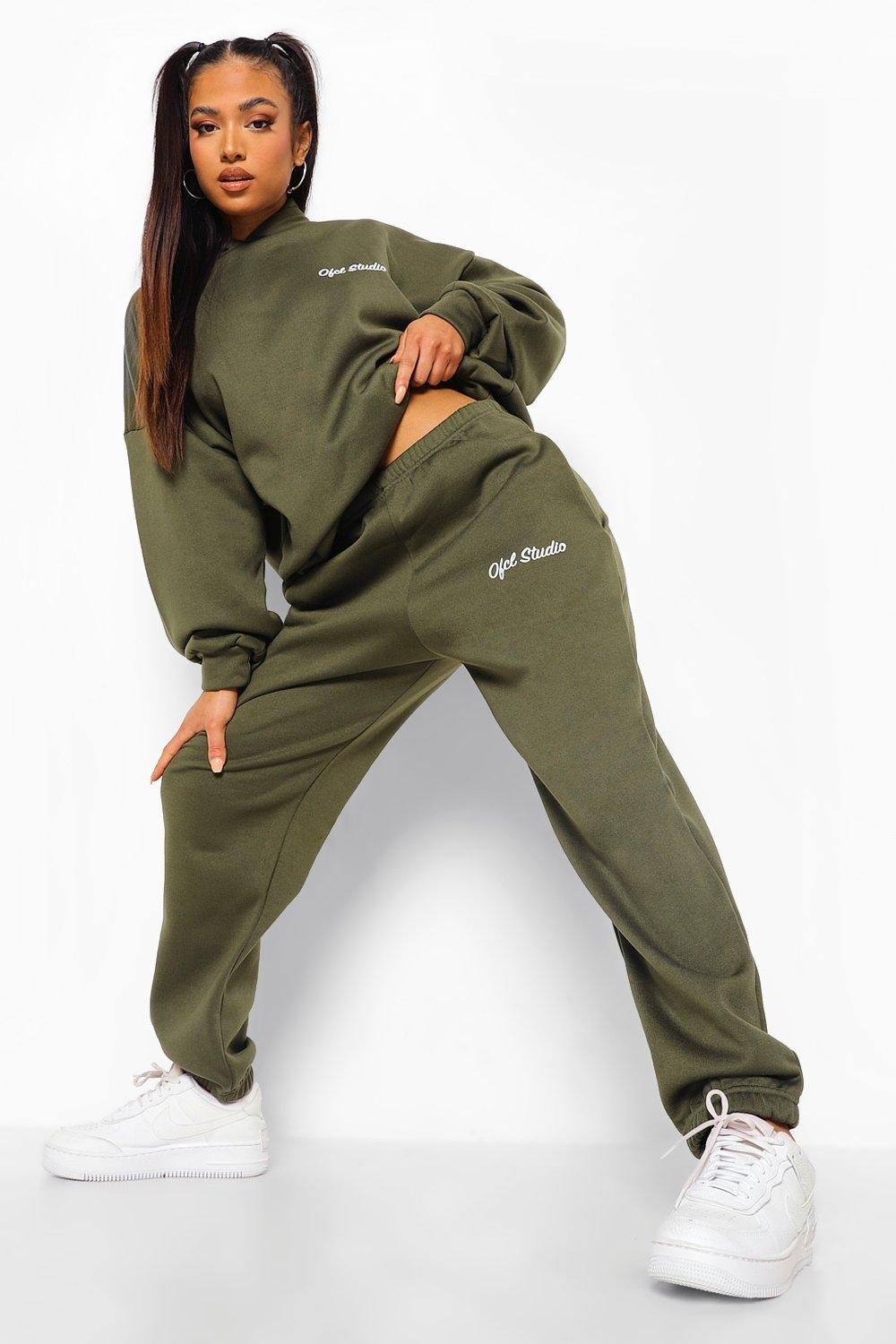 womens petite ofcl studio hoodie tracksuit - green - 8, green