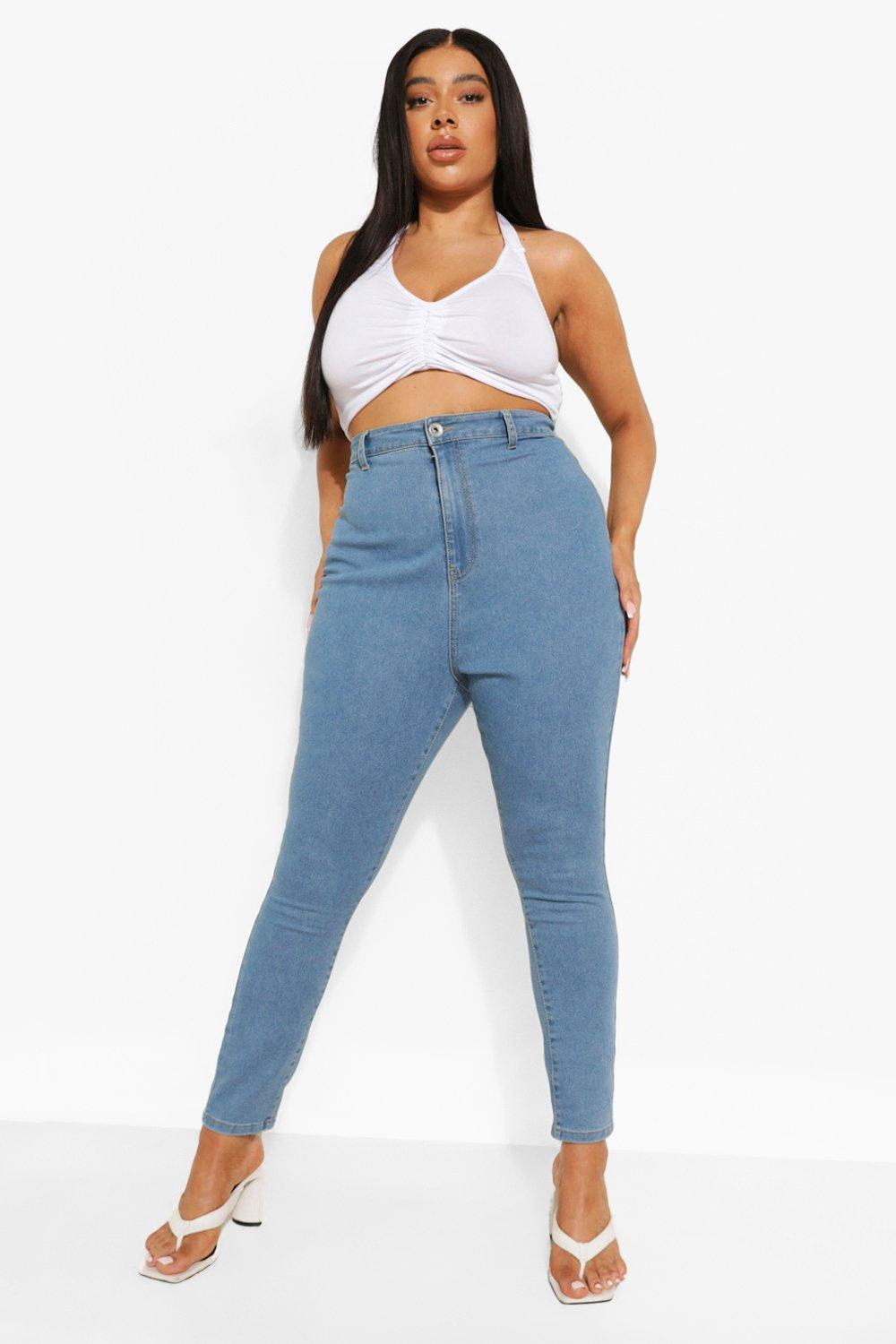 1980s Clothing, Fashion | 80s Style Clothes Womens Plus High Rise Disco Jean - Blue - 16 $15.00 AT vintagedancer.com