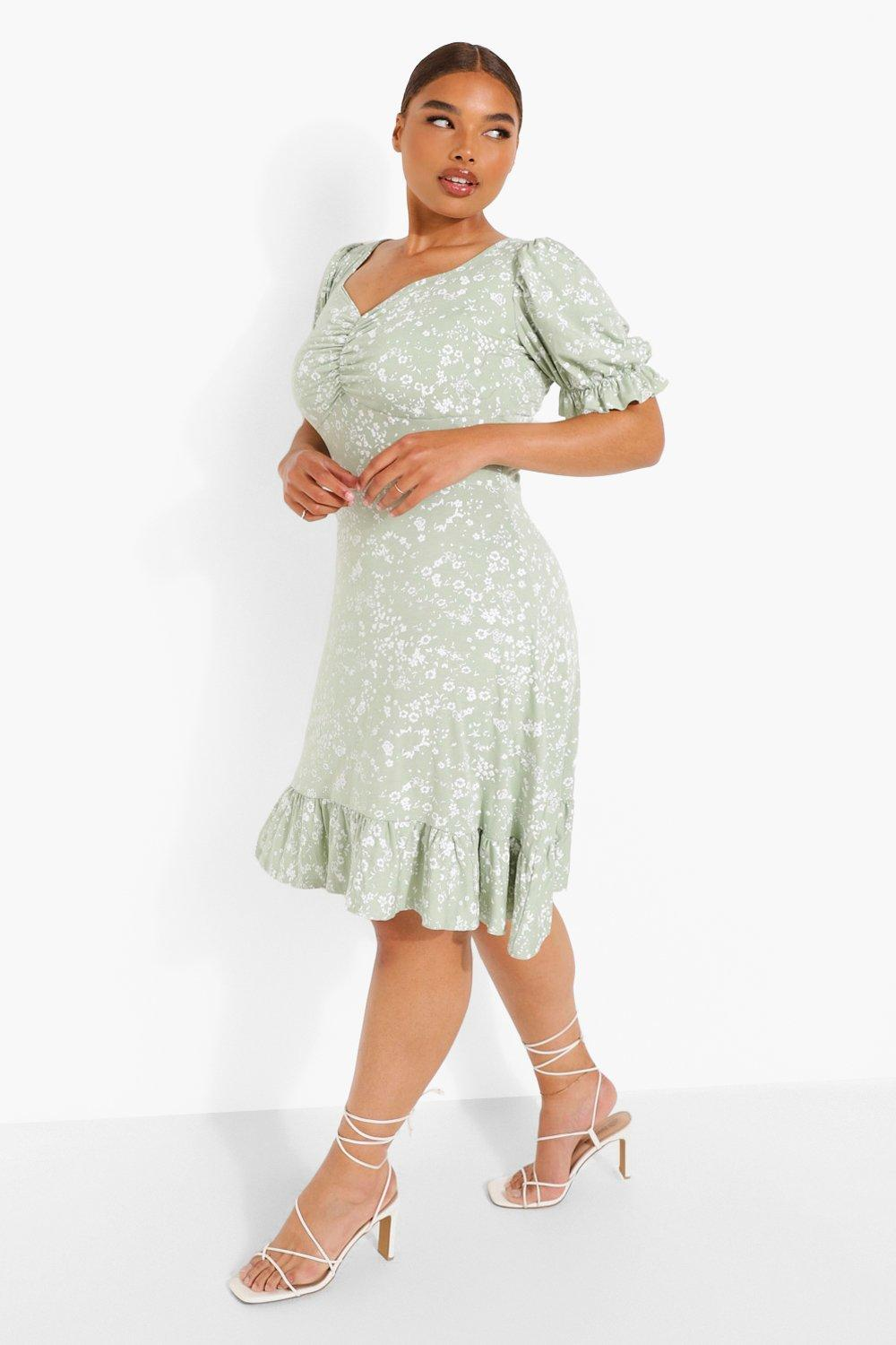 1980s Clothing, Fashion | 80s Style Clothes Womens Plus Floral Print Lace Up Back Skater Dress - Green - 16 $16.00 AT vintagedancer.com