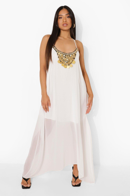 Vintage Cocktail Dresses, Party Dresses Womens Petite Beaded Hanky Hem Maxi Dress - White - 12 $20.00 AT vintagedancer.com