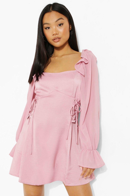 Vintage Style Dresses | Vintage Inspired Dresses Womens Petite Lace Up Detail Puff Sleeve Mini Dress - Pink - 12 $20.00 AT vintagedancer.com