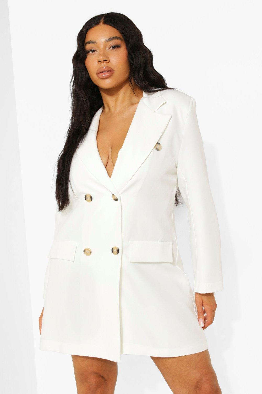 Vintage Coats & Jackets | Retro Coats and Jackets Womens Plus Oversized Double Breasted Blazer - White - 16 $50.00 AT vintagedancer.com