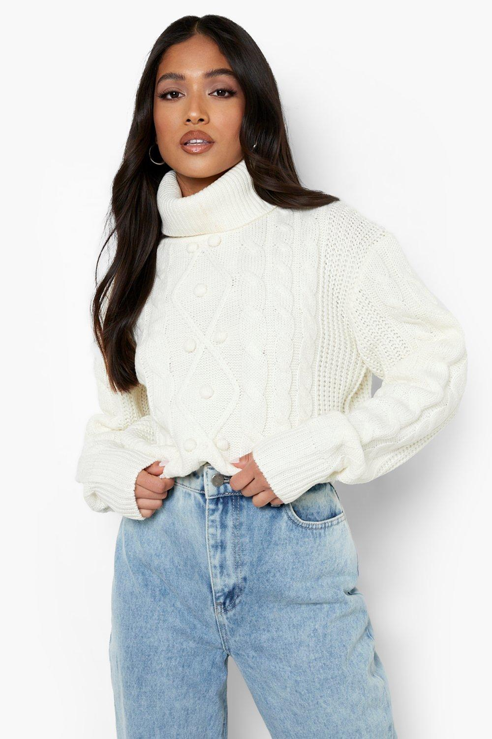 80s Sweatshirts, Sweaters, Vests | Women Womens Petite Cable Pom Pom Roll Neck Crop Sweater - White - M $16.00 AT vintagedancer.com