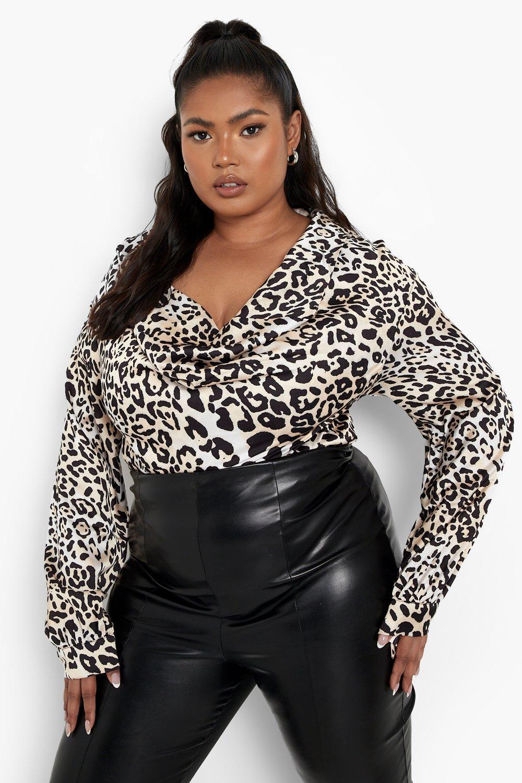 1980s Clothing, Fashion | 80s Style Clothes Womens Plus Satin Cowl Neck Leopard One Piece - Multi - 16 $16.00 AT vintagedancer.com