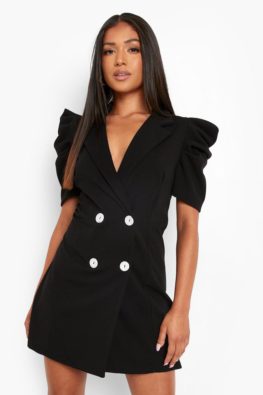 1980s Clothing, Fashion | 80s Style Clothes Womens Petite Puff Sleeve Blazer Dress - Black - 10 $22.40 AT vintagedancer.com