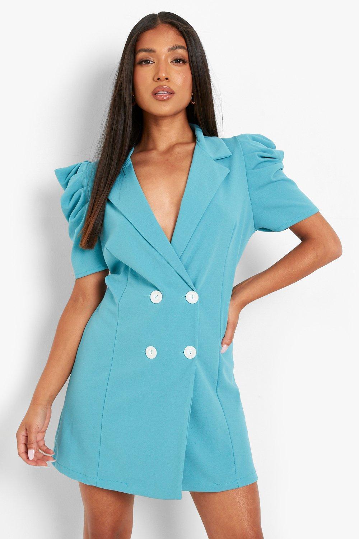 Vintage Style Dresses | Vintage Inspired Dresses Womens Petite Puff Sleeve Blazer Dress - Green - 10 $22.40 AT vintagedancer.com