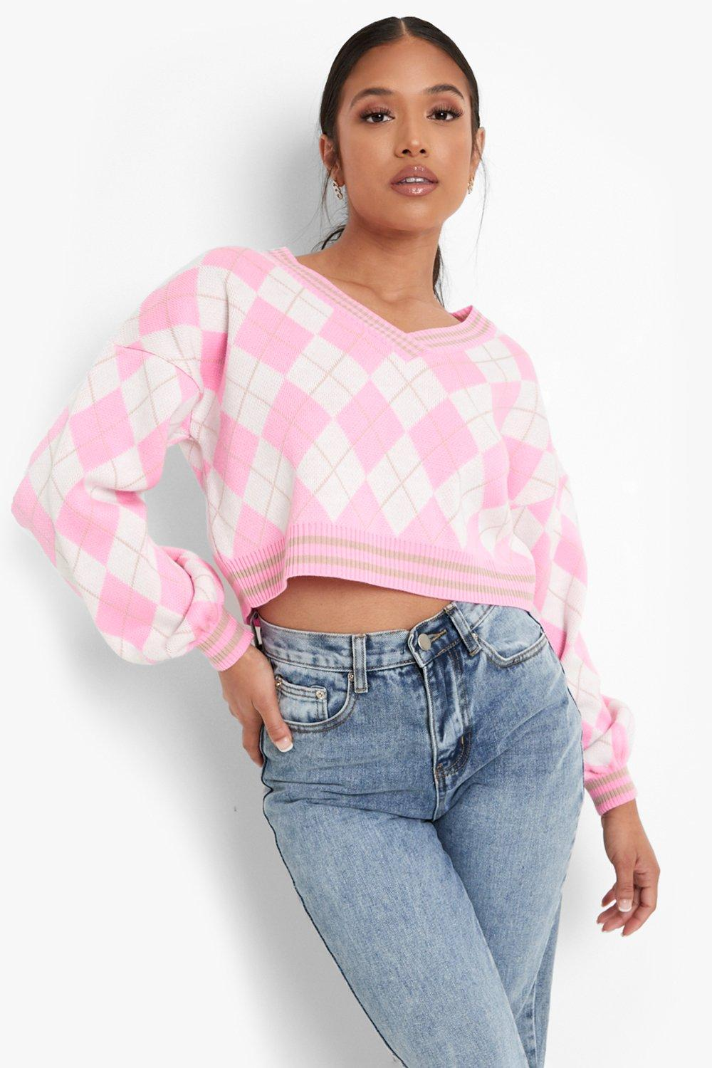 Vintage Sweaters, Retro Sweaters & Cardigan Womens Petite Argyle Knitted V Neck Sweater - Pink - 12 $16.00 AT vintagedancer.com