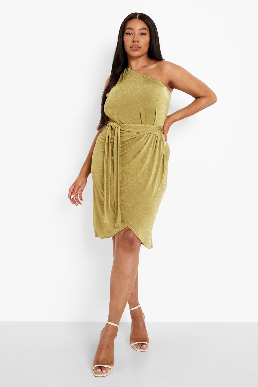 Plus Size Retro Dresses 50s, 60s ,70s, 80s, 90s Womens Plus Slinky One Shoulder Wrap Belted Midi Dre - Green - 16 $20.00 AT vintagedancer.com