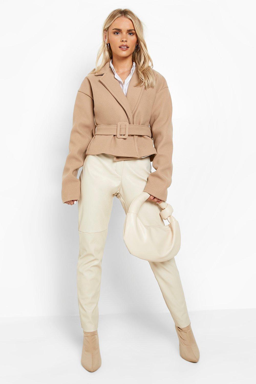 1940s Coats & Jackets Fashion History Womens Petite Wool Look Short Belted Coat - Beige - 12 $80.00 AT vintagedancer.com