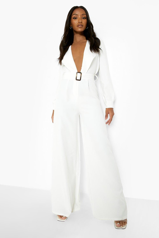 60s Wedding Dresses   70s Wedding Dresses Womens Petite Belt Detail Wide Leg Jumpsuit - White - 12 $28.00 AT vintagedancer.com