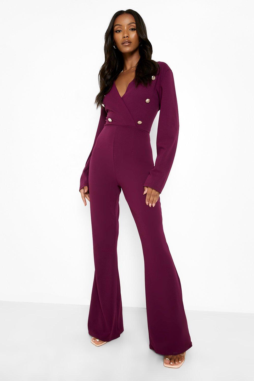 70s Jumpsuit   Disco Jumpsuits, Sequin Rompers Womens Petite Button Detail Wrap Jumpsuit - Red - 12 $32.00 AT vintagedancer.com