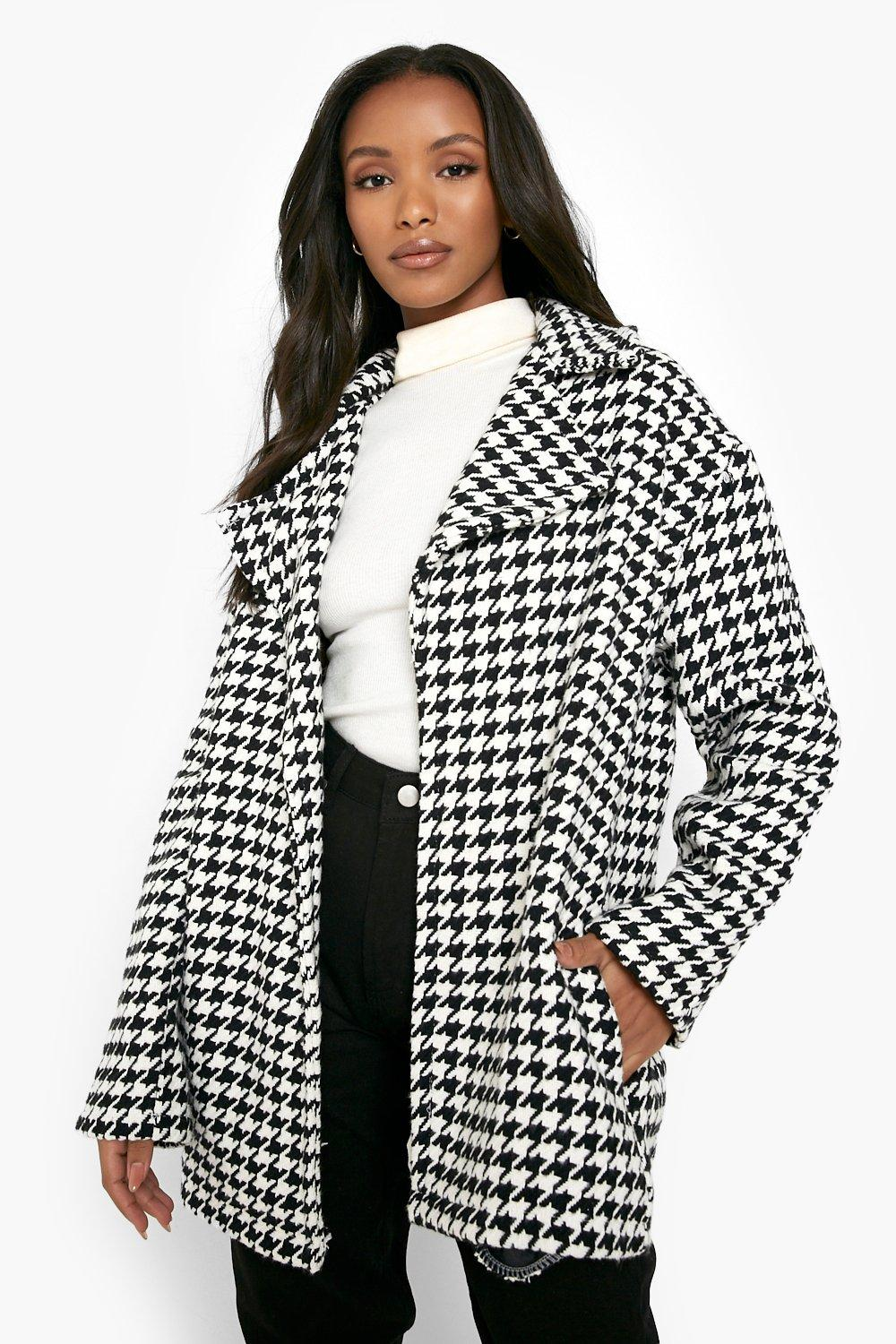 1950s Coats and Jackets History Womens Petite Dogtooth Wool Look Car Coat - Black - 12 $90.00 AT vintagedancer.com
